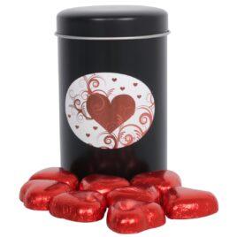 Tindåse med røde chokoladehjerter